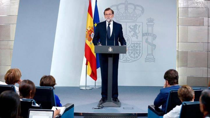 Mariano Rajoy durante la declaración institucional en torno al 1-O realizada este miércoles.