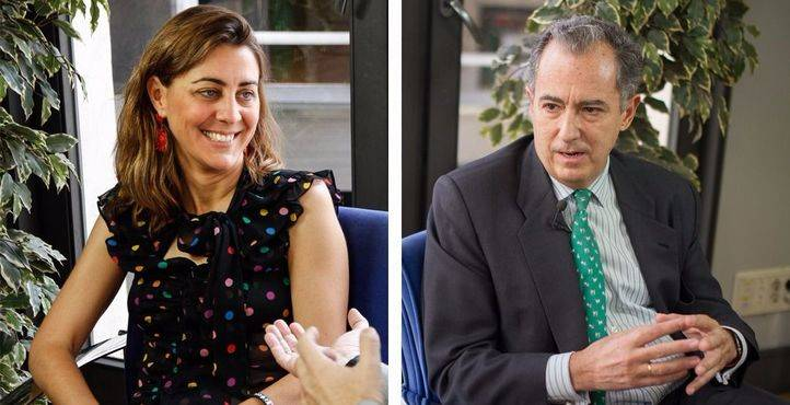 Los portavoces en la Asamblea de Madrid, Lorena Ruiz-Huertas (Podemos) y Enrique Ossorio (PP).