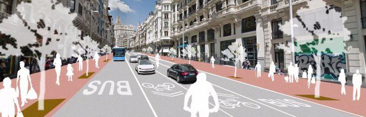 Las restricciones al tráfico para los no residentes en Gran Vía no se harán permanentes hasta junio