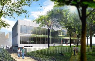 Vista norte de la biblioteca que se abrirá en San Fermín en 2019.