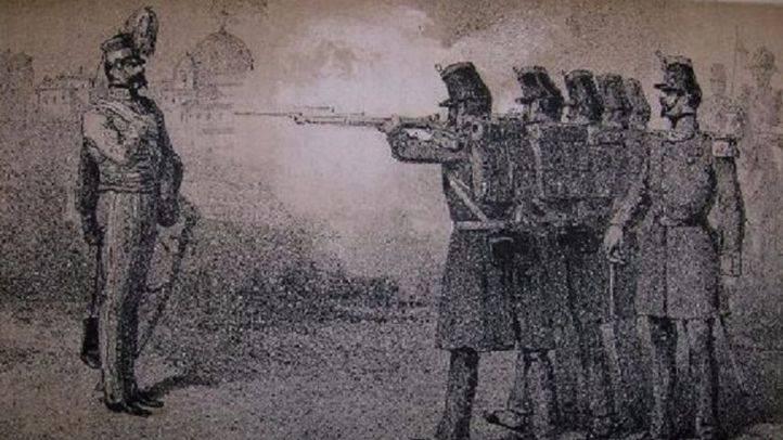 Grabado del fusilamiento de Diego de León.