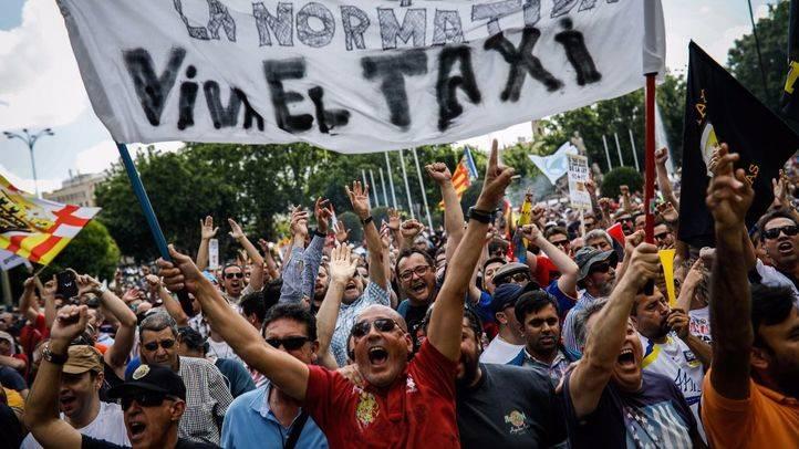 Manifestación de taxistas. (Archivo)