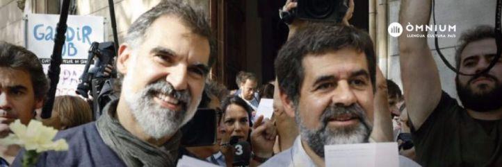Presidentes de la Asamblea Nacional Catalana (ANC) y de Òmnium Cultural, Jordi Sànchez y Jordi Cuixart