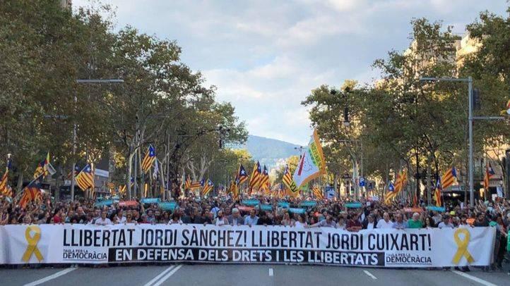 Manifestación por la liberación de 'los Jordis' en Barcelona