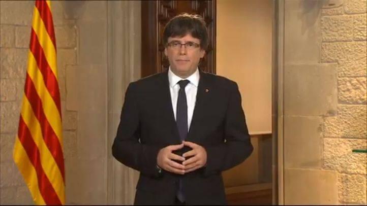 Carles Puigdemont, en su mensaje institucional.