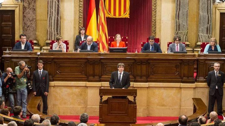 Una imagen del Parlament de Cataluña durante la comparecencia de Puigdemont