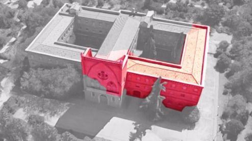 En rojo, las partes del convento de las Damas Apostólicas derribadas