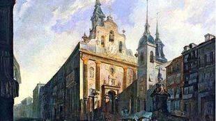 Cuadro de la Puerta del Sol y la iglesia de Buen Suceso.