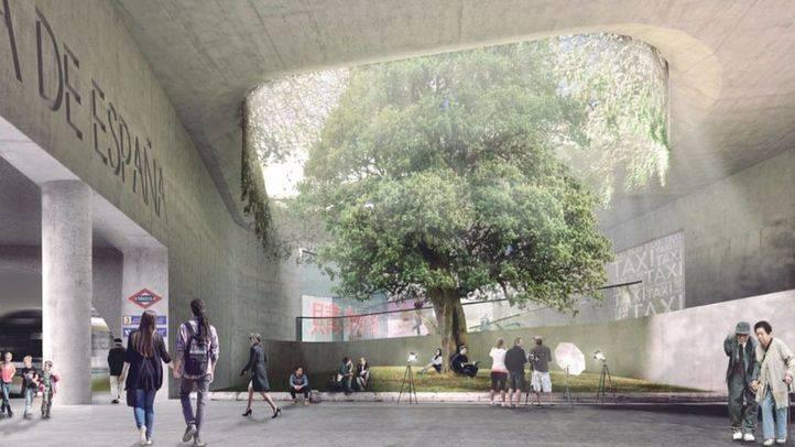 Recreación del proyecto ganador para la remodelación de Plaza de España