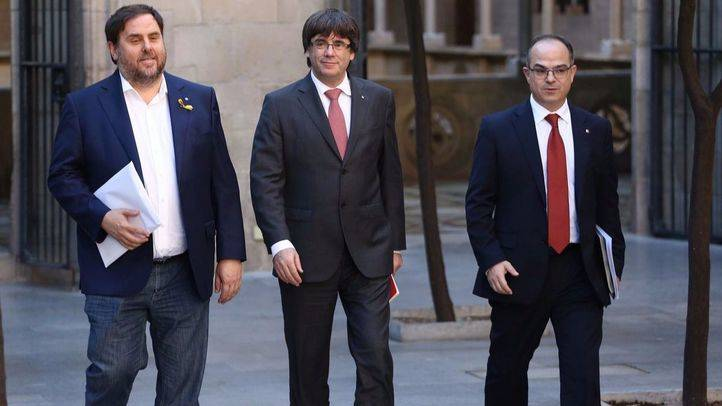 Carles Puigdemont, Oriol Junqueras y Jordi Turull