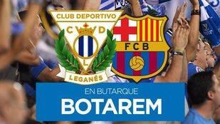 Cartel de venta de entradas del Leganés-Barça del próximo sábado