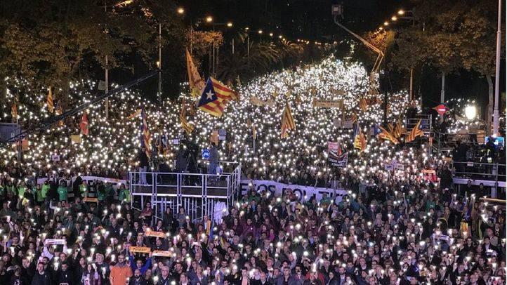 Manifestación en Barcelona por la libertad de los 'Jordis'