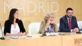 Rueda de prensa de Maestre, Carmena, Sánchez Mato y Marta Higueras. (Archivo)
