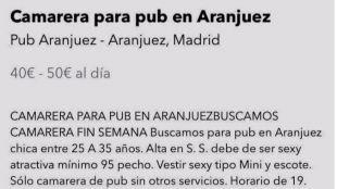 Anuncio machista para un pub de Aranjuez