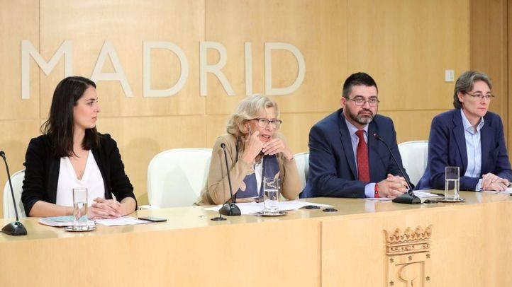 La plana mayor del Ayuntamiento de Madrid explicando la tutela de Hacienda. (Archivo)