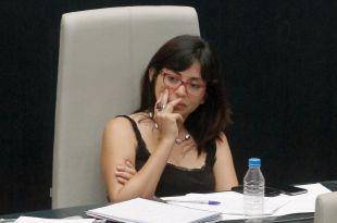 La concejala Rommy Arce durante un Pleno del Ayuntamiento de Madrid.