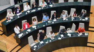 Los concejales de Ahora Madrid en una imagen de archivo del Pleno del Ayuntamiento.