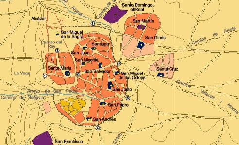Mapa de Madrid en el s. XIV.