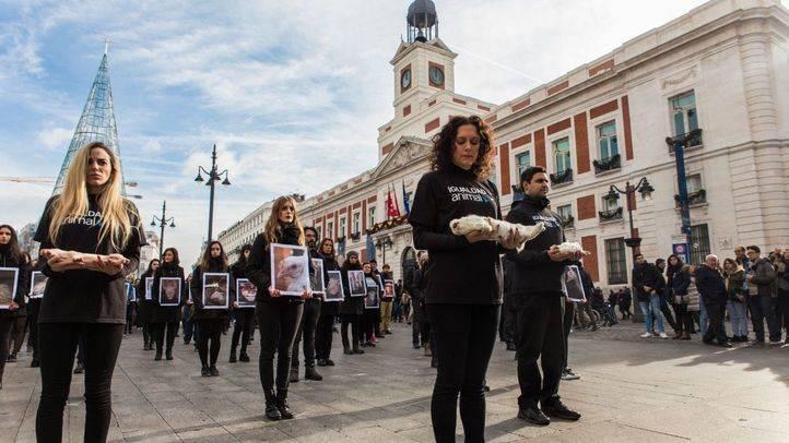 Protesta contra la industria ganadera en la Puerta del Sol
