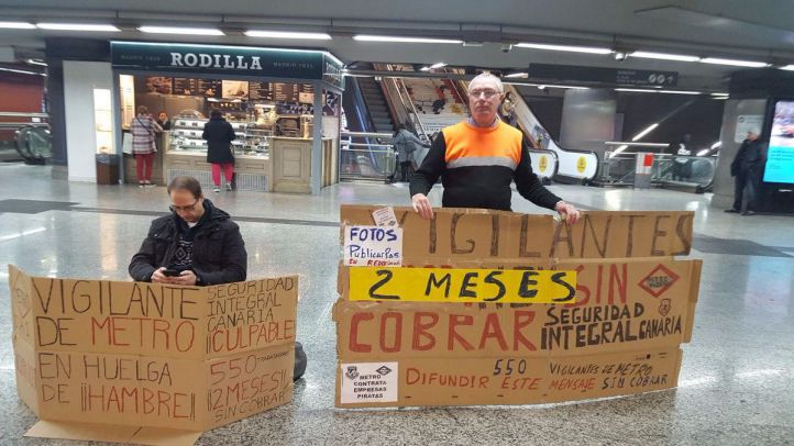 Un vigilante de seguridad de Metro, en huelga de hambre