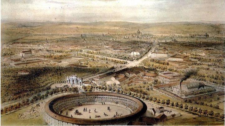 Grabado de la plaza de 1854.
