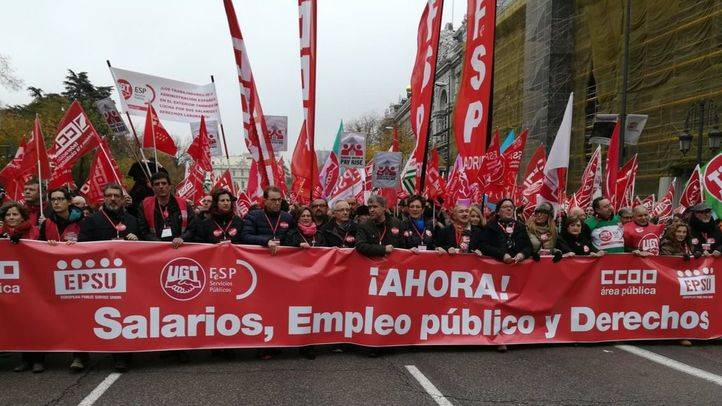 La manifestación sindical por el empleo público ha culminado en Cibeles