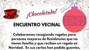 Chocolatada en Puente de Vallecas para recoger regalos para personas mayores sin familias