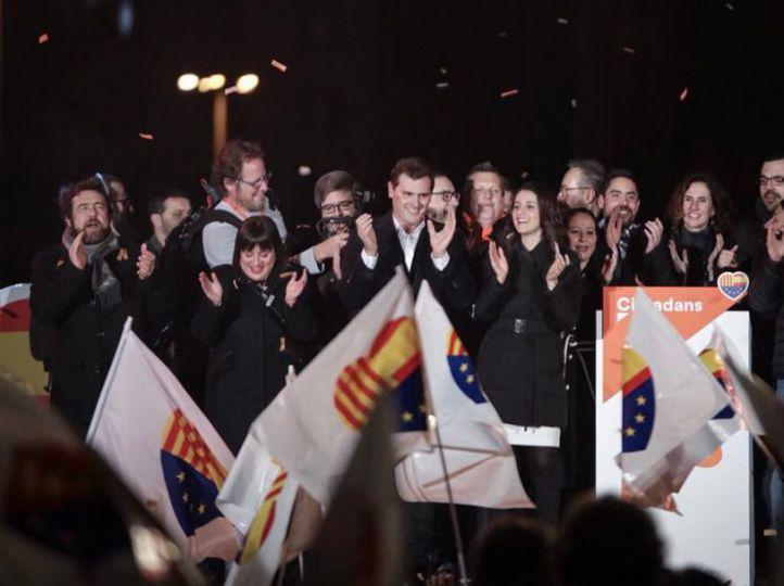 Arrimadas y Rivera celebran el triunfo electoral
