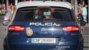 Coches patrulla de la Policía Nacional.