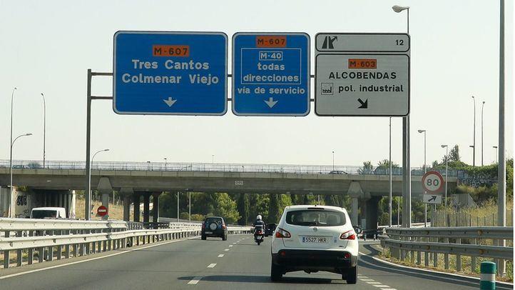Carretera M-607 a su paso por Madrid y en sentido Tres Cantos-Colmenar Viejo.