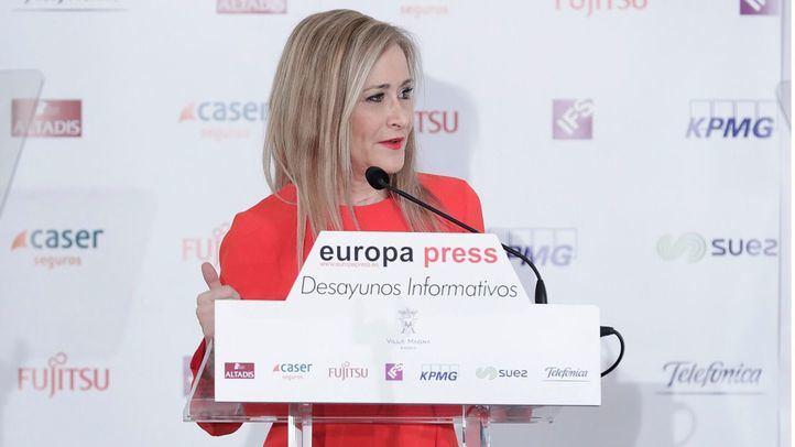 La presidenta de la Comunidad de Madrid, Cristina Cifuentes, en el desayuno informativo.