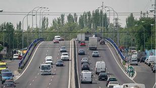 Carretera-autovía de Toledo A42 a su paso por la localidad de Getafe.
