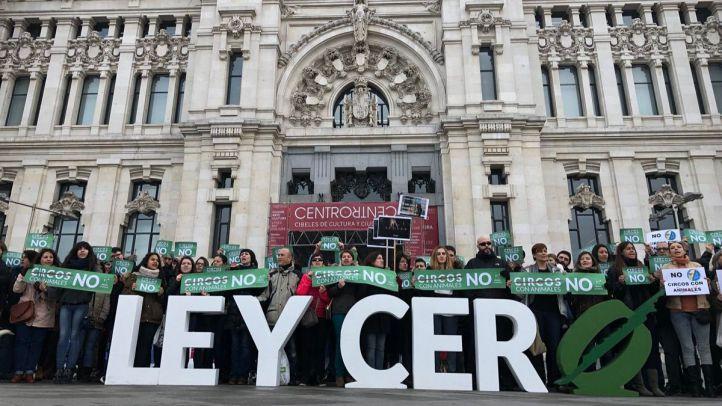 El Partido Animalista se ha concentrado este sábado frente al Ayuntamiento.