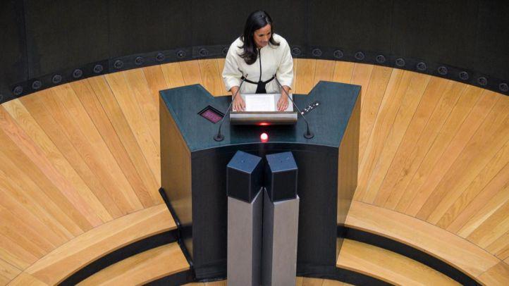 Begoña Villacís, portavoz de Ciudadanos, durante una intervención en el Pleno del Ayuntamiento de Madrid.