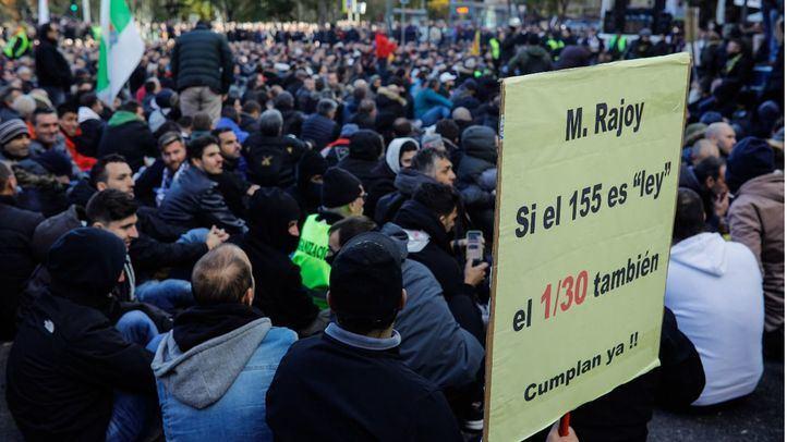 Los taxistas se han manifestado en varias ocasiones en Madrid.