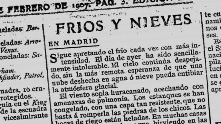 La nevada que sí consiguió sepultar Madrid hace 111 años