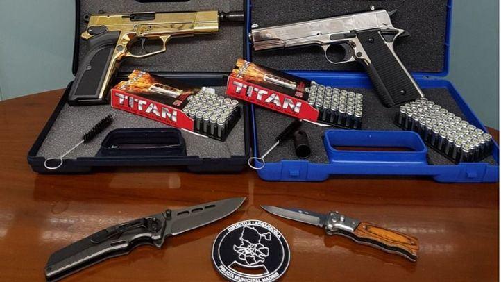 Armas intervenidas por la Policía en un control rutinario en Arganzuela.