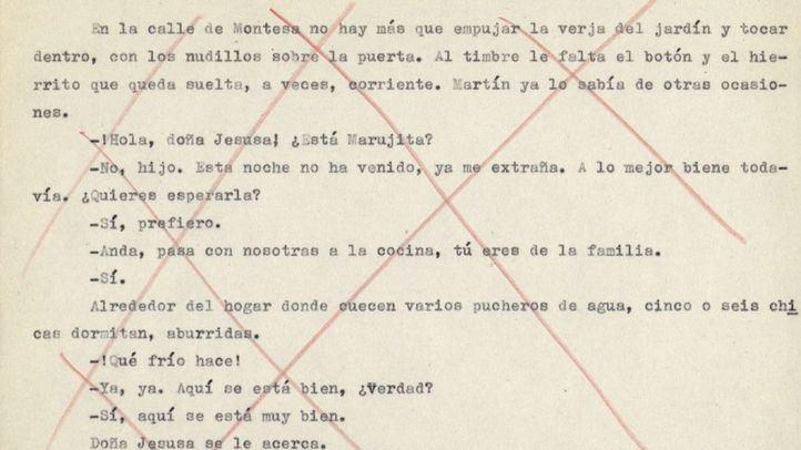 Fragmento del manuscrito censurado de 'La Colmena' de Camilo José Cela.