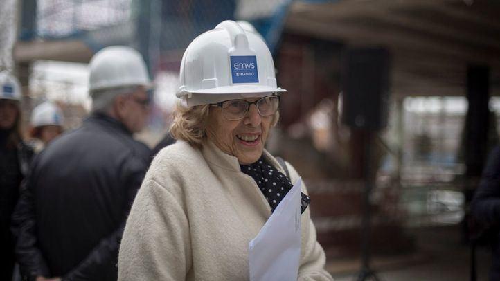 La regidora durante una visita reciente a viviendas de la EMVS.