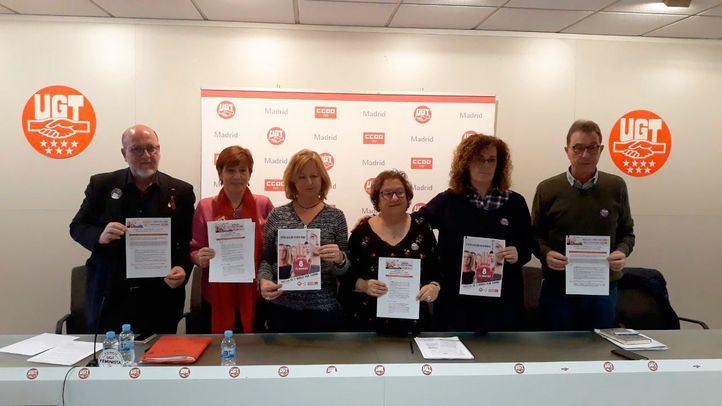 Rueda de prensa conjunta de UGT y CCOO sobre la huelga general feminista del 8M.