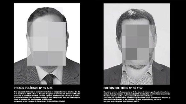 Detalle de la obra del artista Santiago Sierra titulada Presos Políticos en la España Contemporánea retirada de ArcoMadrid 2018.