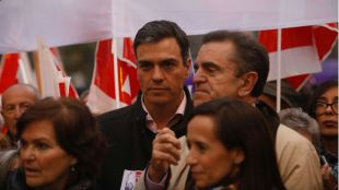 Pedro Sánchez, secretario general del PSOE, y su homónimo regional en Madrid, José Manuel Franco.