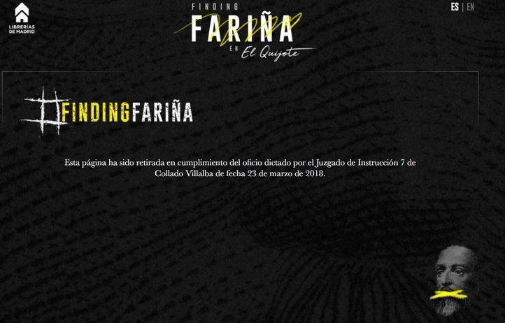 Web secuestrada por el juez en la que se podía leer Fariña a través de El Quijote.
