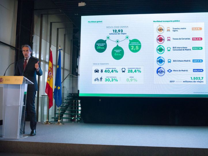 El ministro de Fomento, Íñigo de la Serna, junto a la presidenta de la Comunidad de Madrid, Cristina Cifuentes, han presentado el proyecto de mejora de las Cercanías de Madrid.