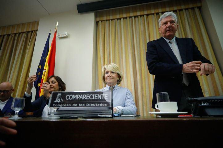 La expresidenta Esperanza Aguirre, en la comisión que investiga la presunta financiación irregular del PP de Madrid.