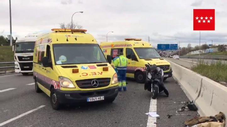 Herido grave un motorista por un choque con una furgoneta