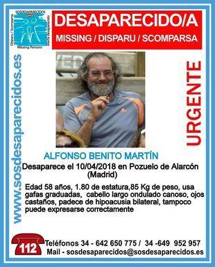 Alfonso Benito Martín, 58 años, desaparecido en Pozuelo.