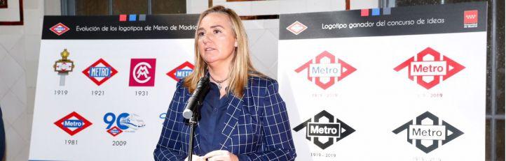 Rosalía Gonzalo, consejera de Transportes, en la presentación del nuevo logo de Metro.