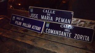 Placas de calles franquistas retiradas por Foro de la Memoria