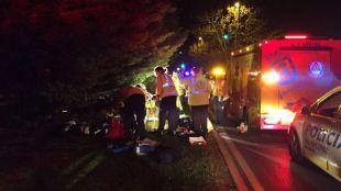 Los servicios de emergencias atienden a la mujer herida en el atropello.